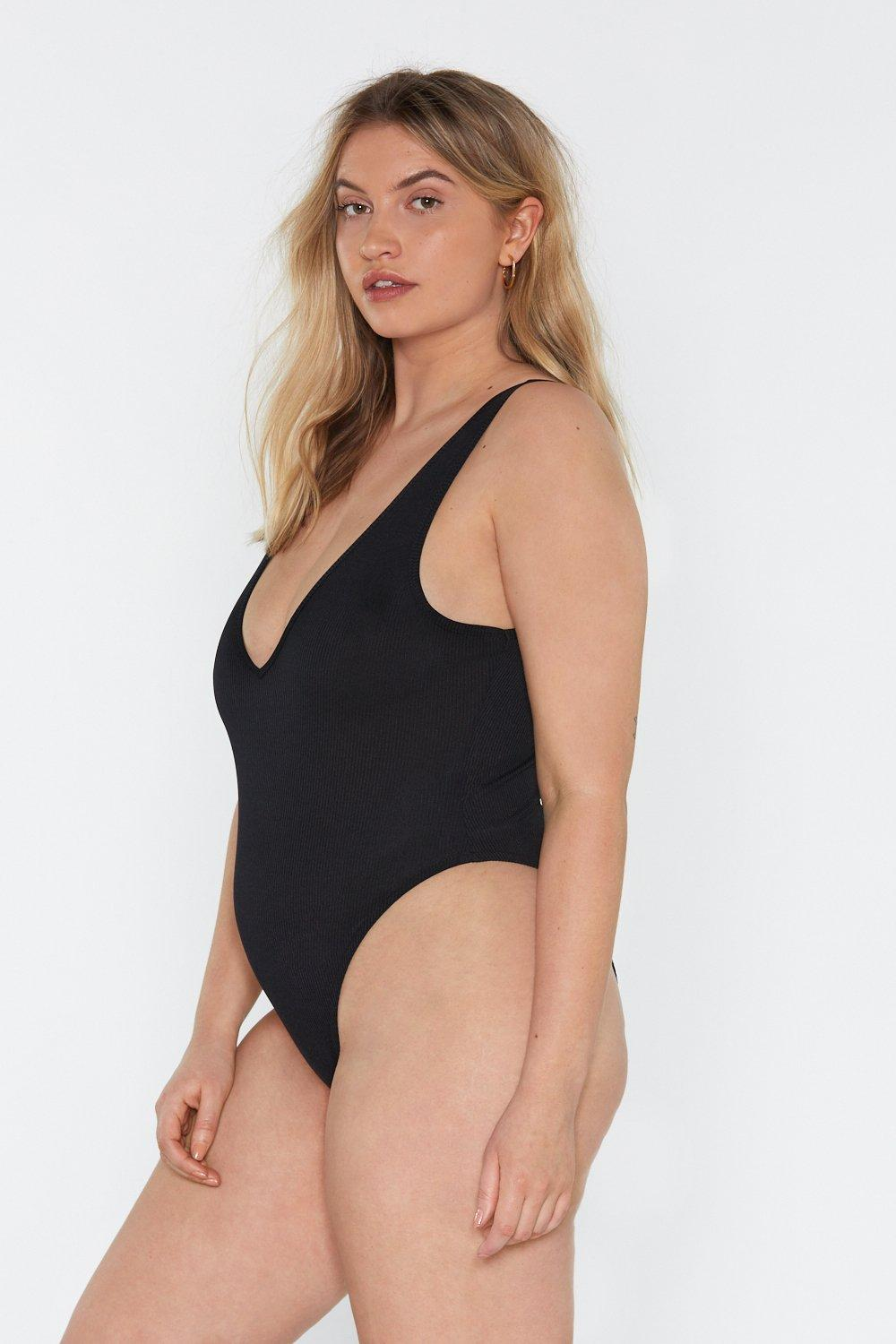 8c21321b3946 Into It Ribbed Plunging Bodysuit | Shop Clothes at Nasty Gal!