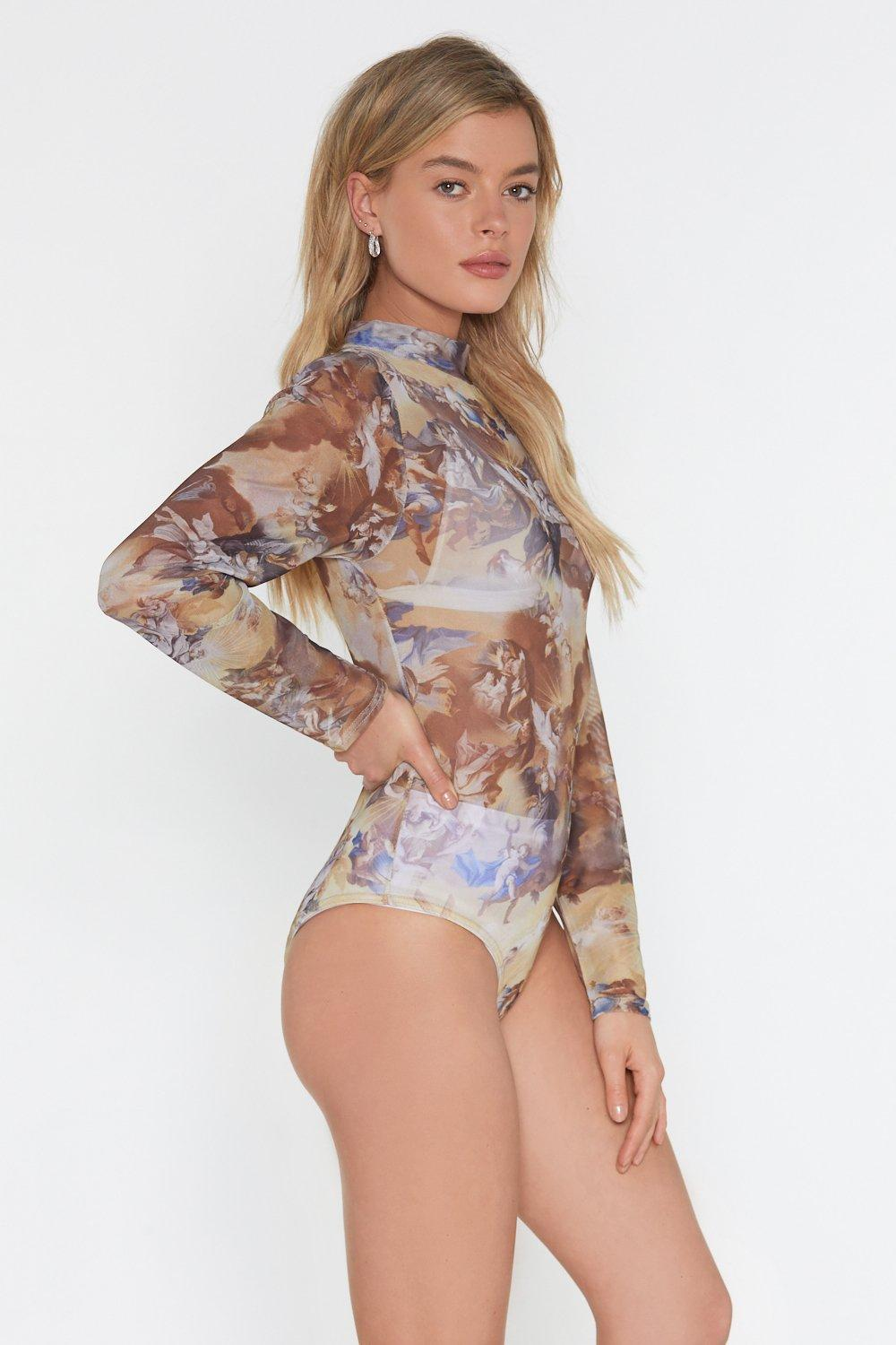 38a012ec39a2 Painted Love Mesh High Neck Bodysuit   Shop Clothes at Nasty Gal!