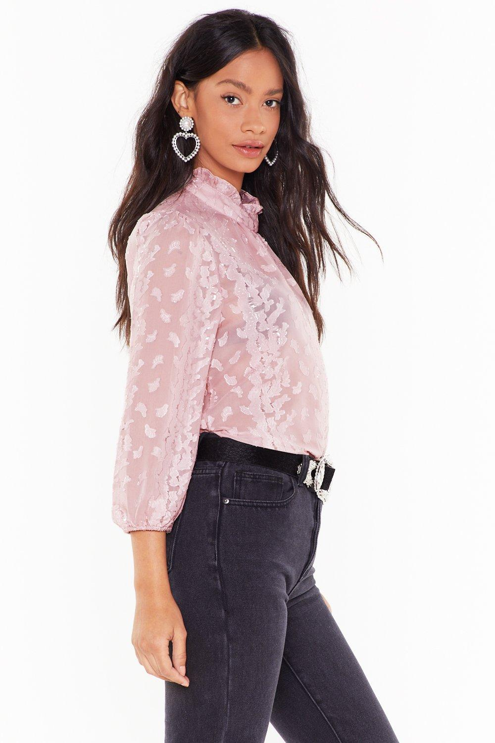 e6508204f1d8a Make It Sheer High Neck Blouse. Hover to zoom