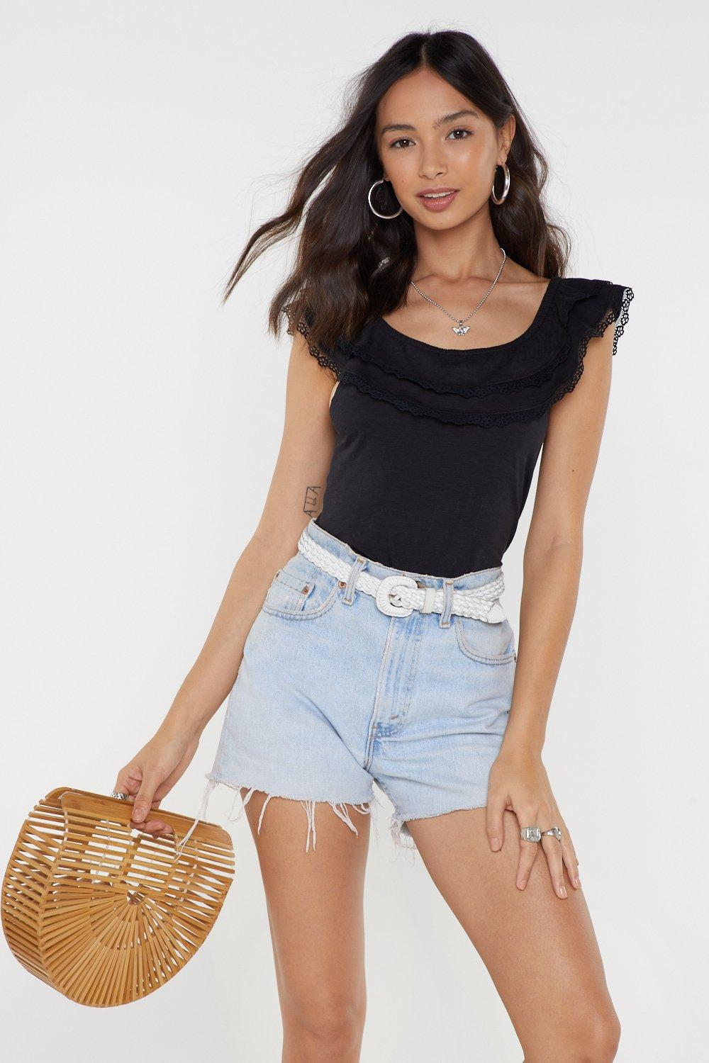 405a9c0867655 Just on a Trim Lace Ruffle Top