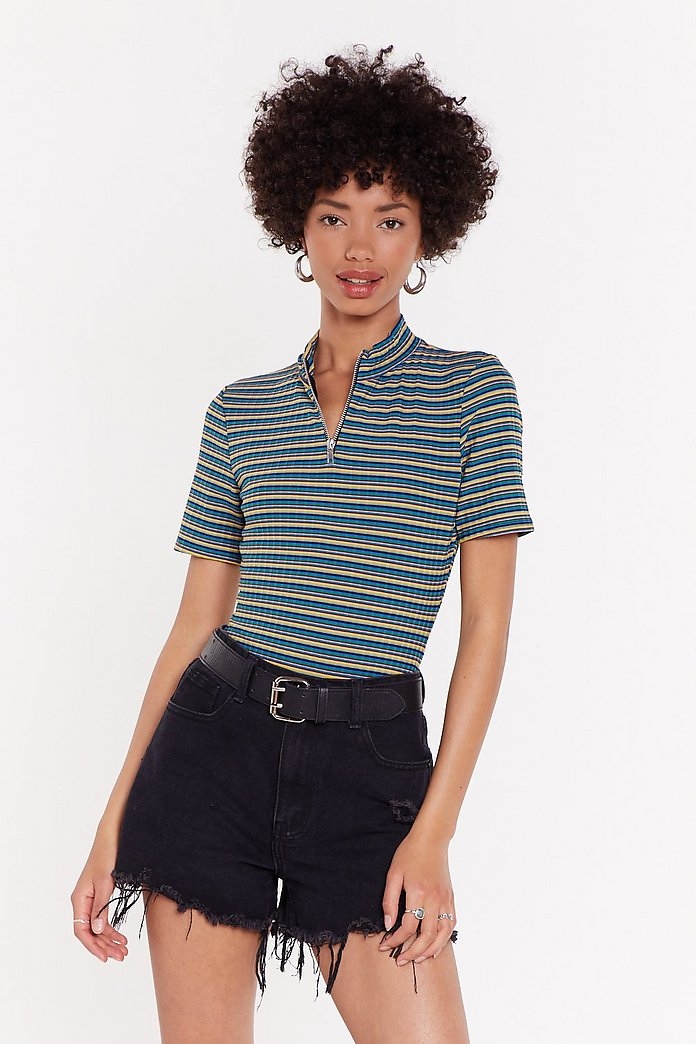 Multi Stripe Rib Bodysuit by Nasty Gal
