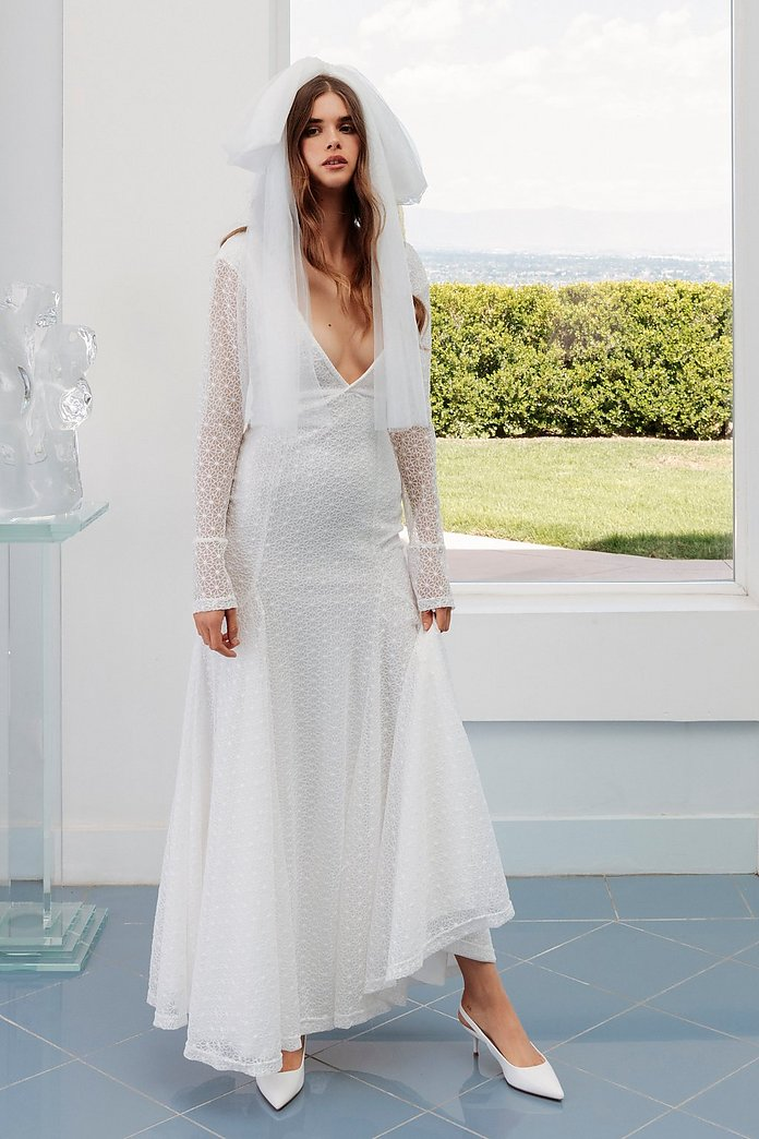 Save the Date Plunging Lace Bridal Dress | Nasty Gal
