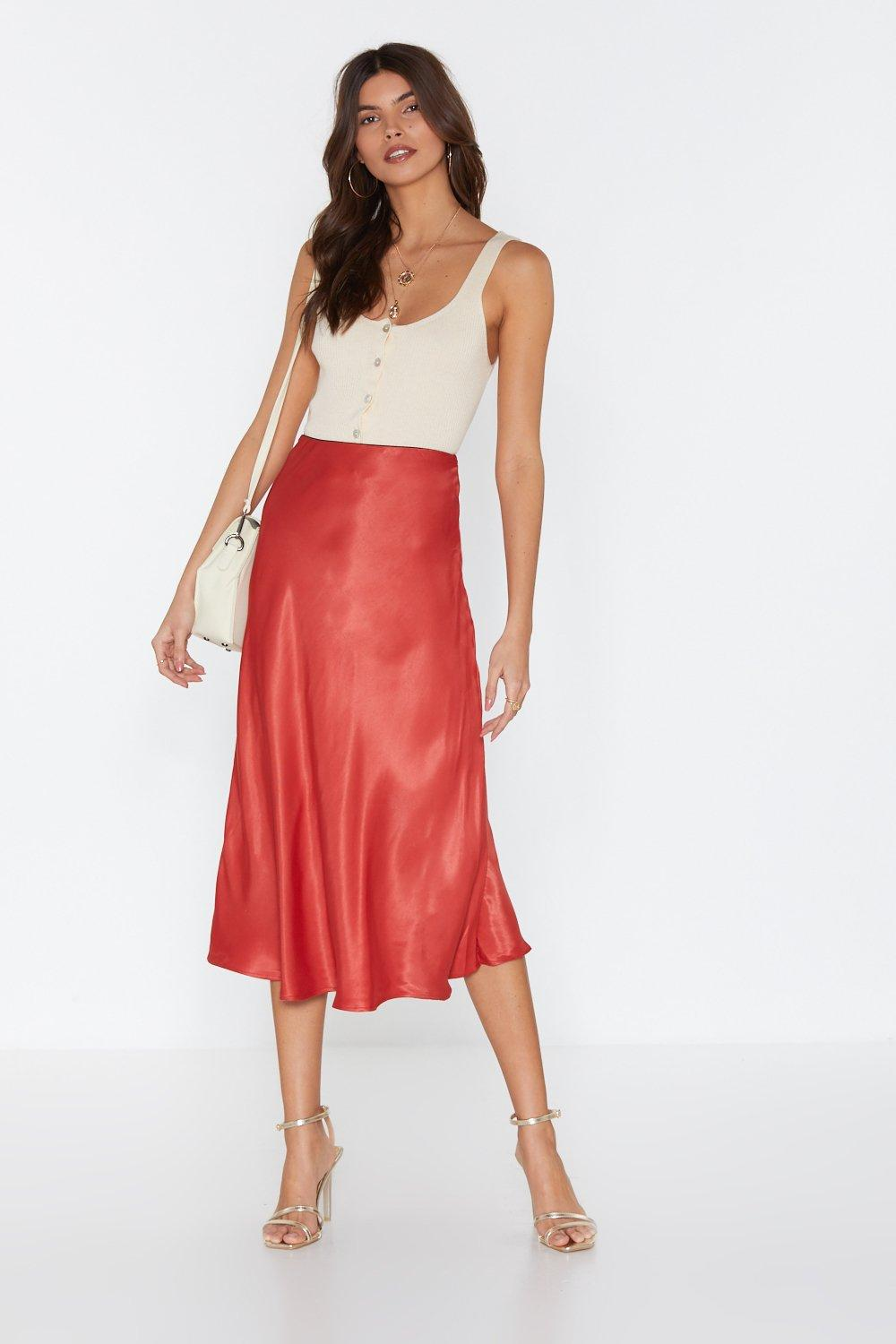 e28b39bb7b0 Womens Rust Sleek at the Knees Satin Midi Skirt. Hover to zoom