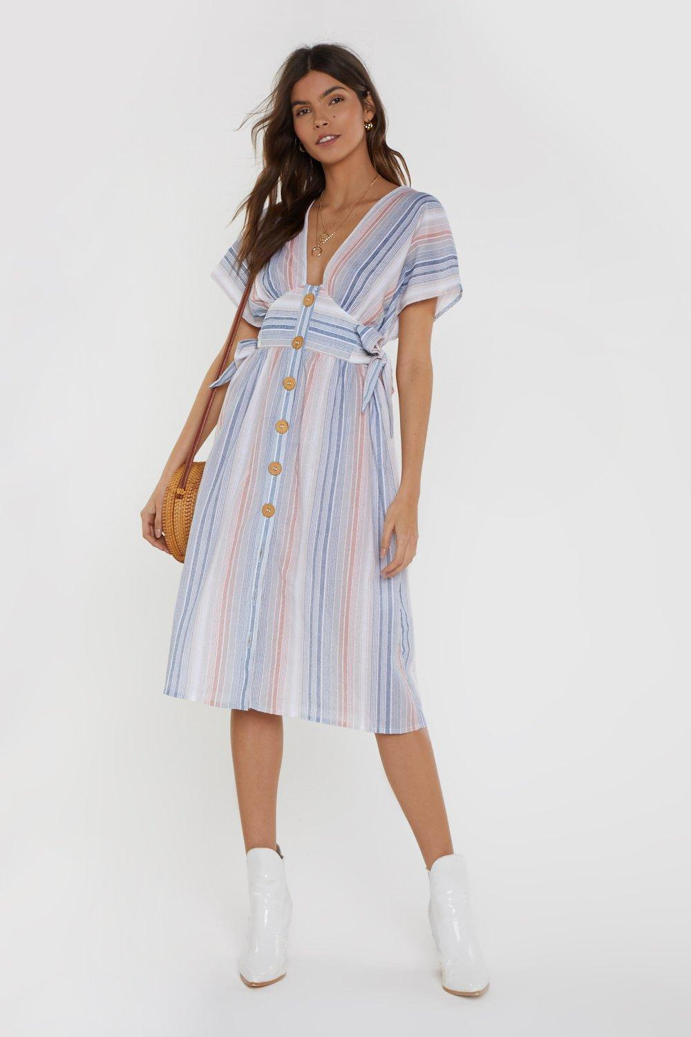 ba603917cef Womens Blue You Can Make It if You Tie Striped Midi Dress