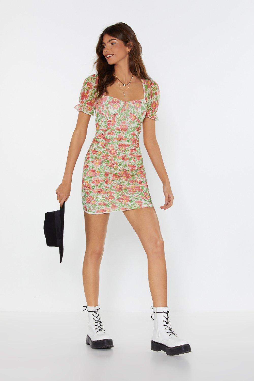 8e24451e0572 Floral Mesh Square Neck Mini Dress   Shop Clothes at Nasty Gal!