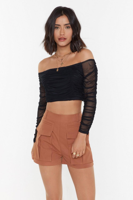 fabd4eeb6fe Ruched Mesh Cropped Bardot Top | Shop Clothes at Nasty Gal!