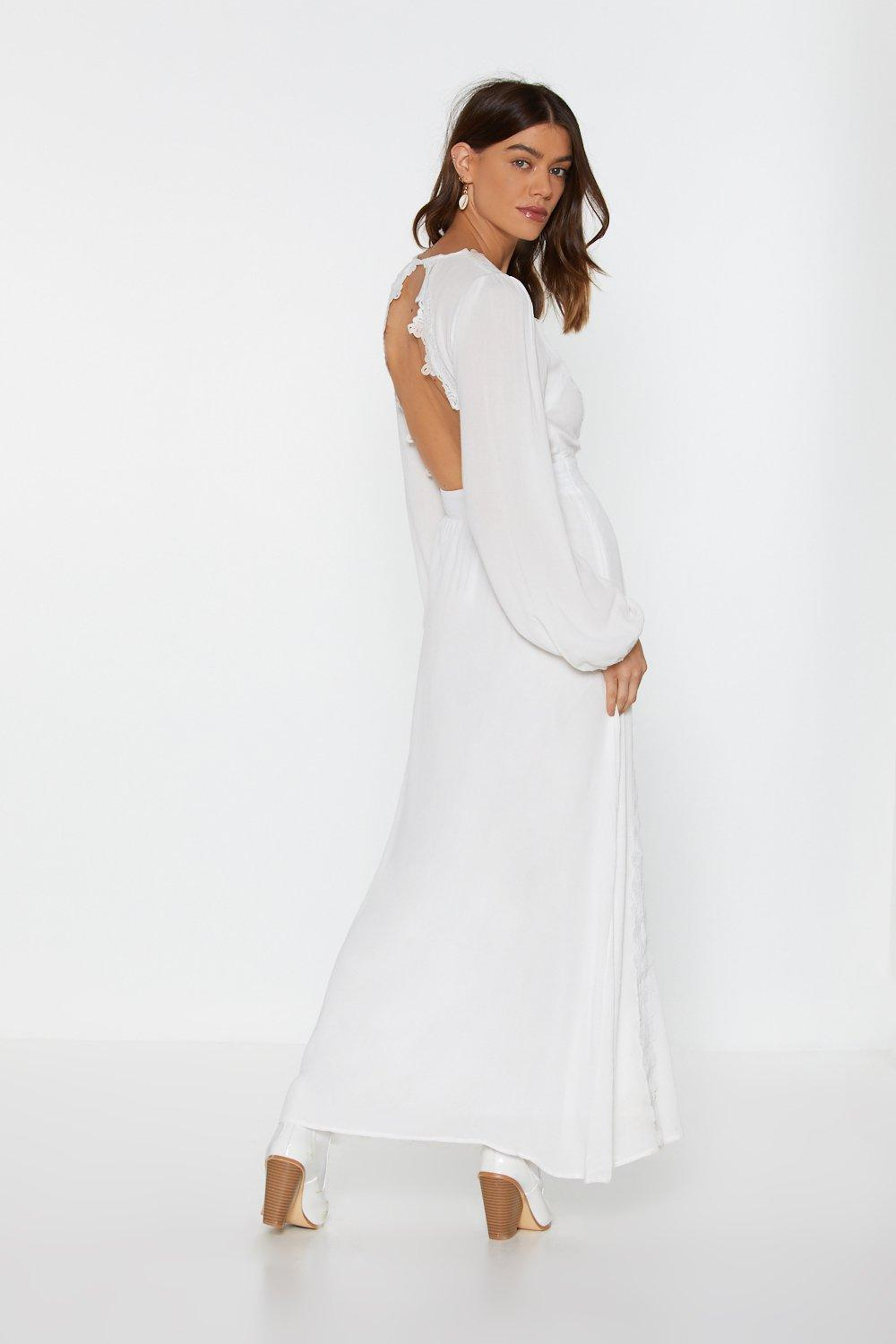 da706b00a1e Womens White Back You Up Crochet Maxi Dress