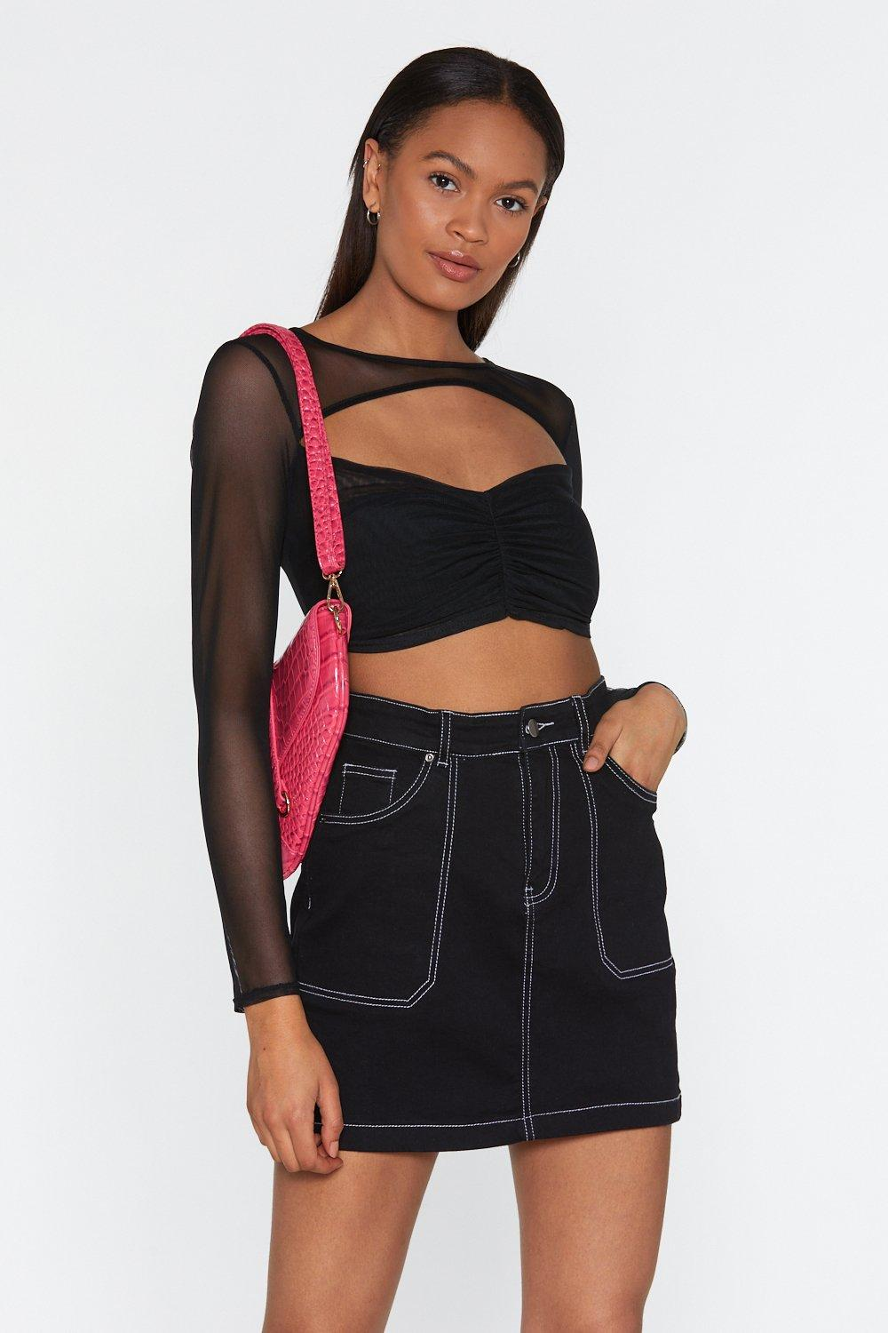 3287588a88ad26 Look Who's Sheer Mesh Cut-Out Crop Top | Shop Clothes at Nasty Gal!