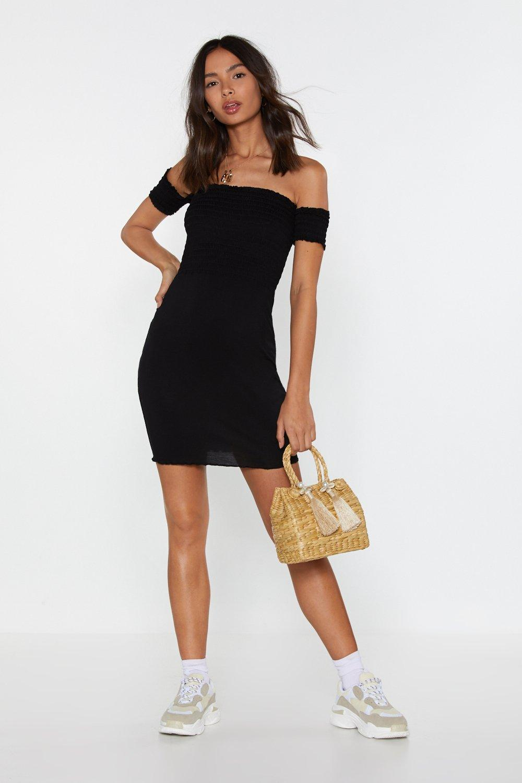 ebb9396569c Womens Black Move Off-the-Shoulder Shirred Dress