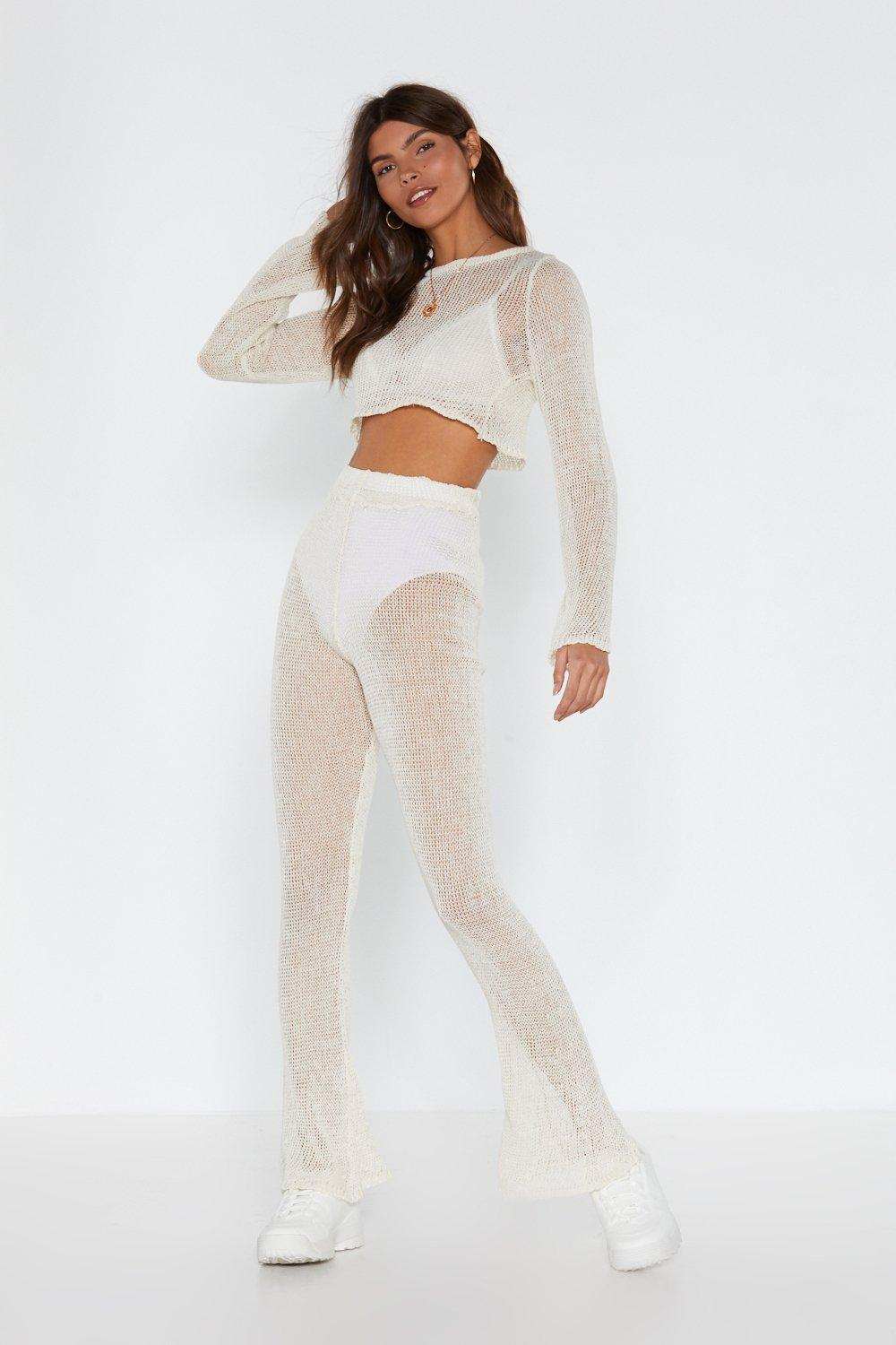 Catch Of The Day Crochet Crop Top And Pants Set by Nasty Gal