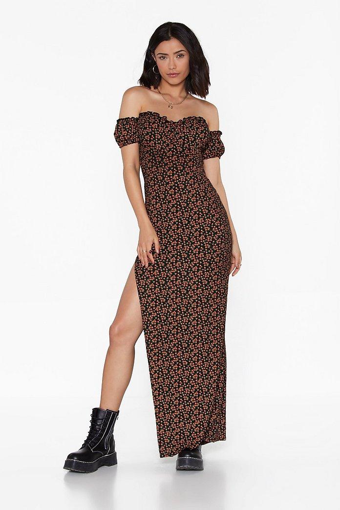Floral Bardot Lace Up Maxi Dress Shop Clothes At Nasty Gal