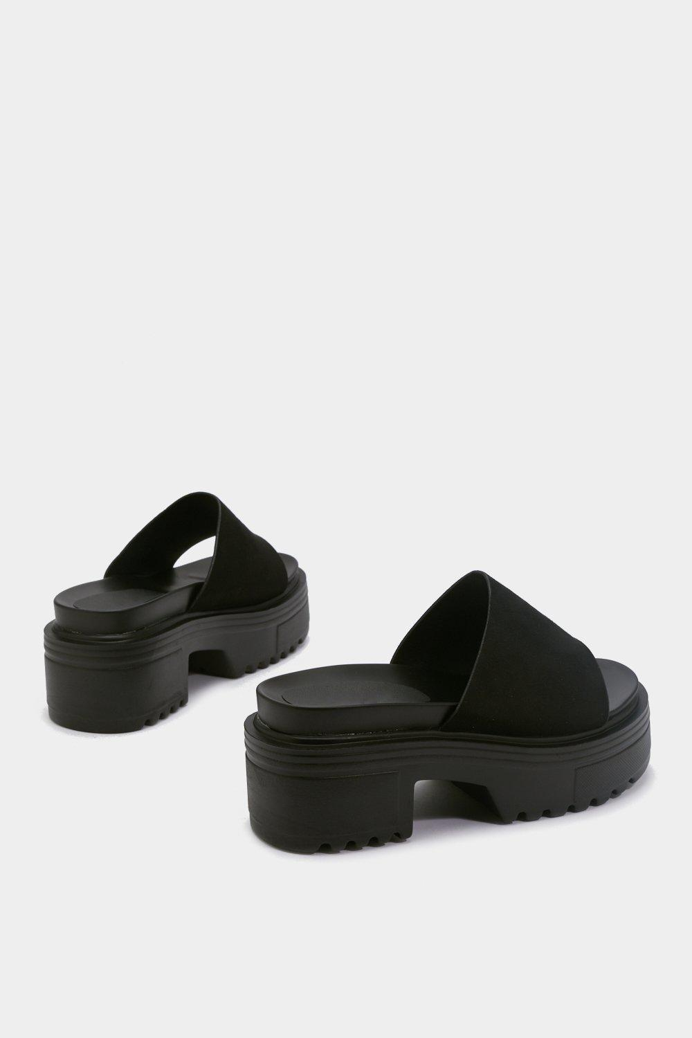 d2ac30e47351 Womens Black Who You Mule-ing Chunky Sandals