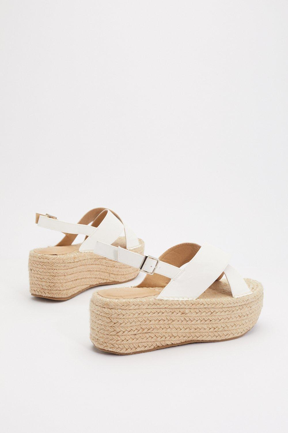 89f210a7a Womens White Get It Over With Platform Woven Sandals