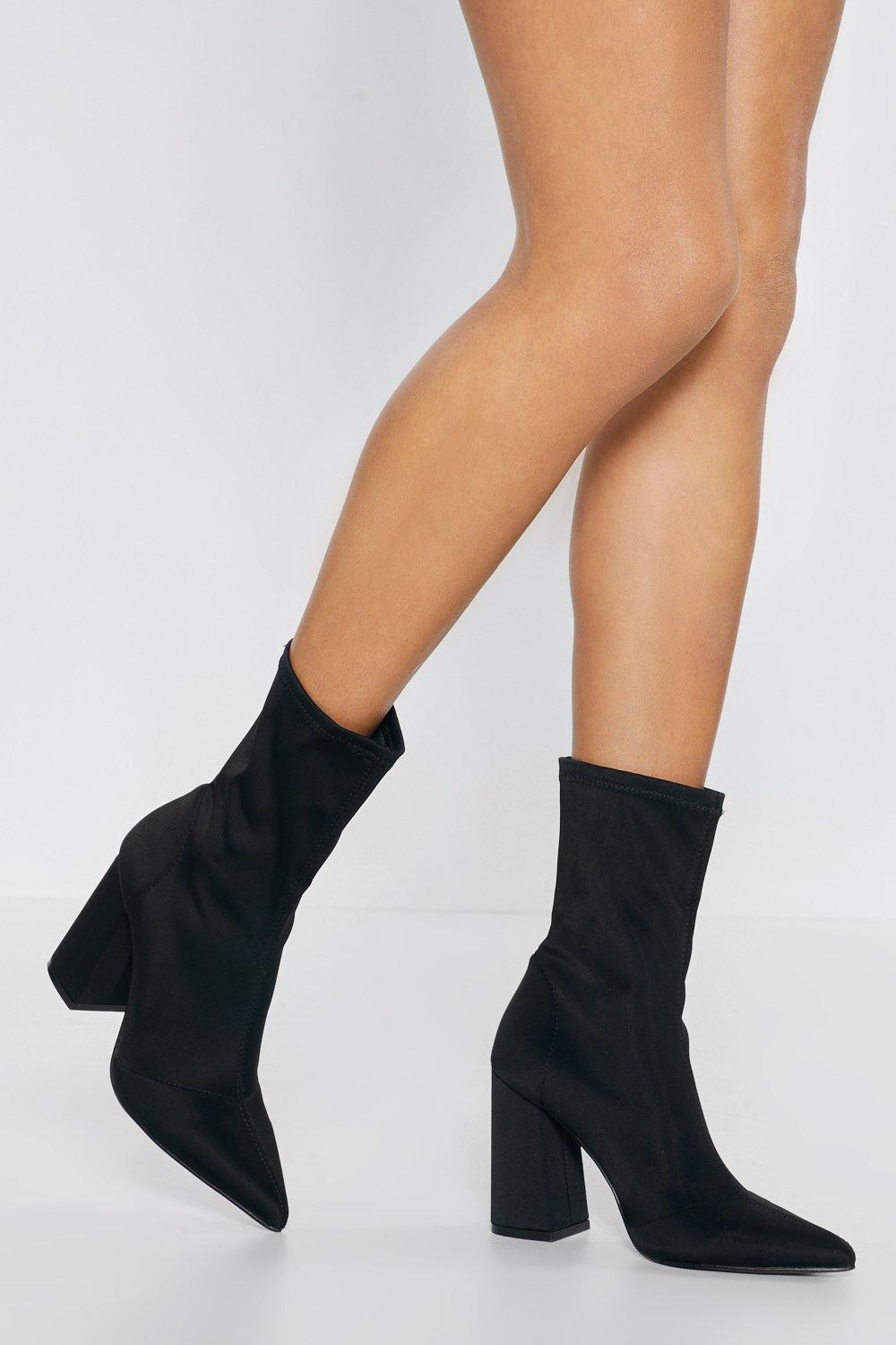 896d7aa54ee1 Hover to zoom · Womens Black Around the Sock Heeled Boots