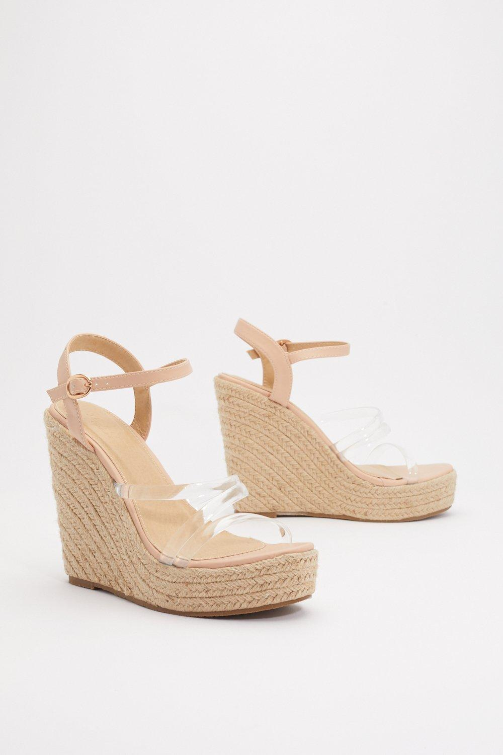 3bfd9861dd1 Up and Running Clear Raffia Wedges | Shop Clothes at Nasty Gal!
