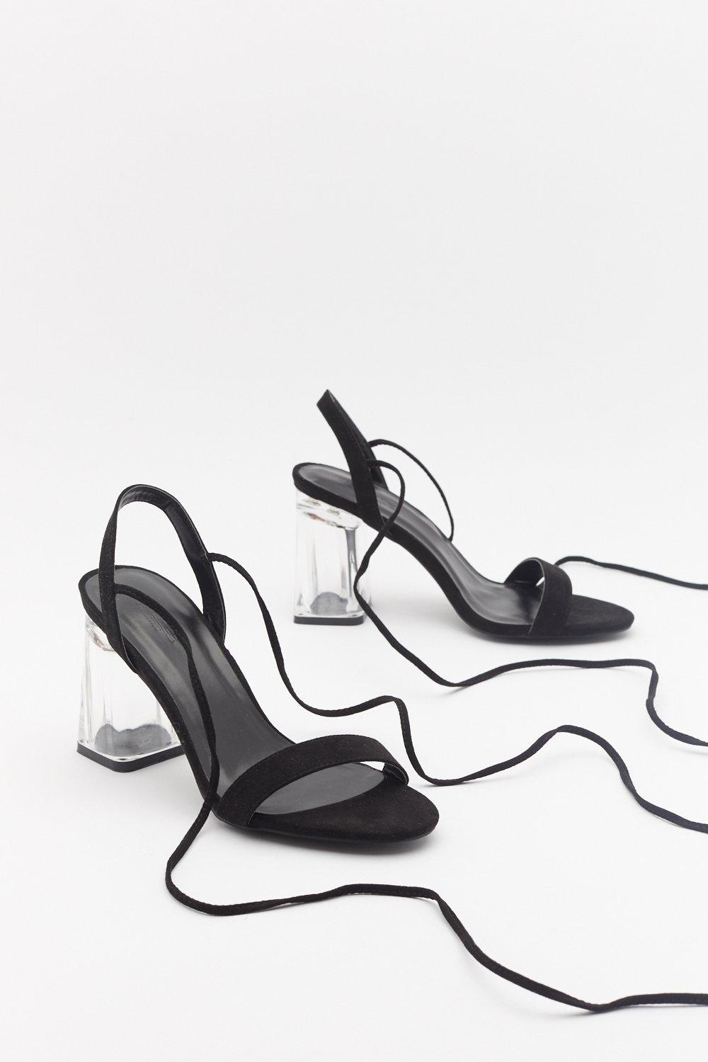 3b4ad8eb01f Perspex Flare Block Ankle Tie Heels | Shop Clothes at Nasty Gal!