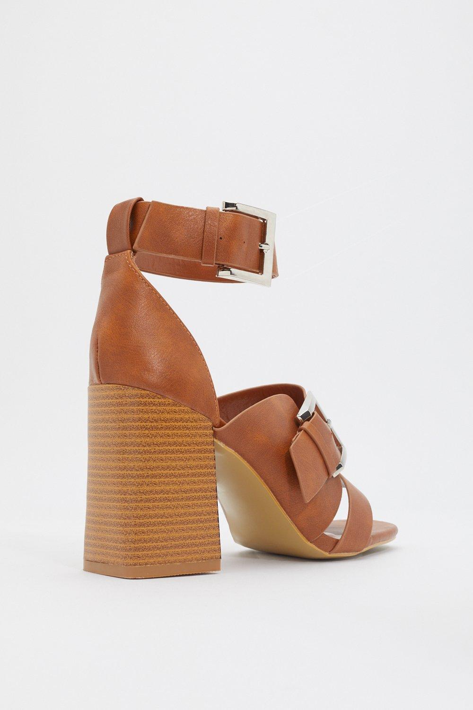 180e90357df PU Buckle Block Heel Sandals