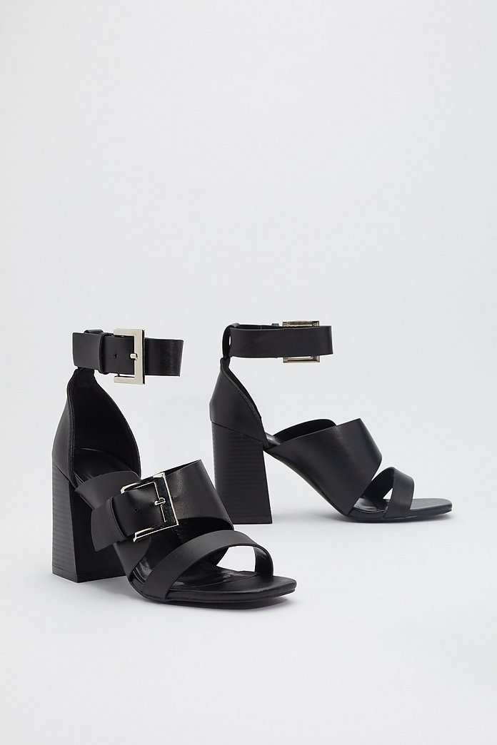 Buckle Down Faux Leather Heeled Sandals | Nasty Gal