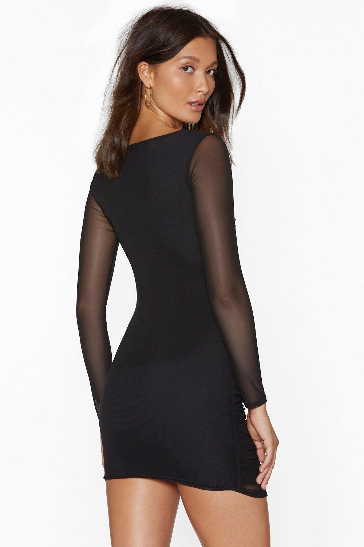 93978aa1ee6 Mesh Behavior Ruched Bodycon Dress