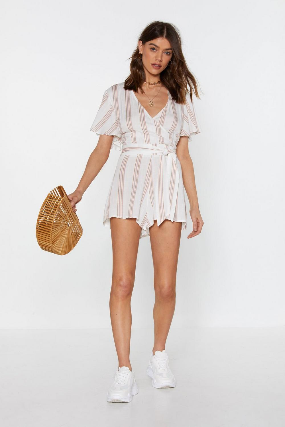 a192aca07134 How Does It Lace Linen Striped Playsuit