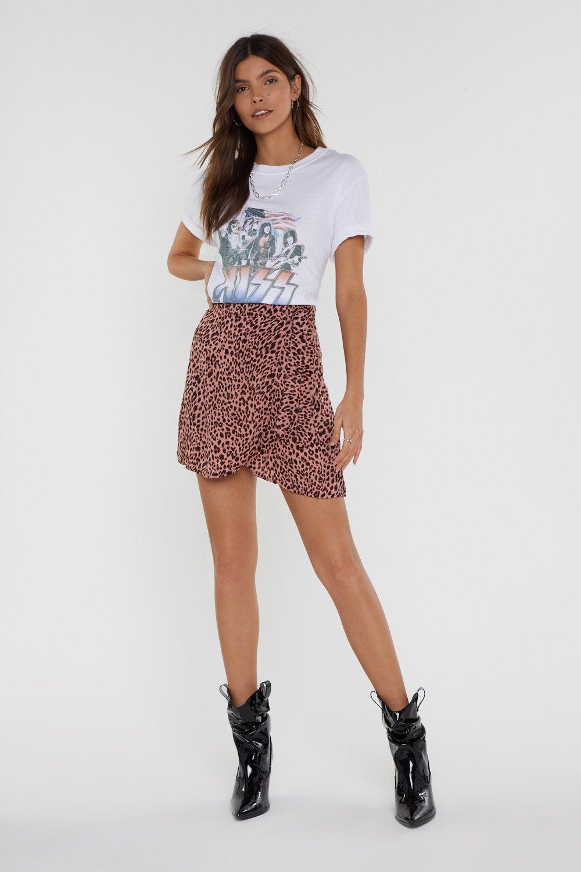 627028850df Mini jupe portefeuille fluide à imprimé léopard Ça ronronne