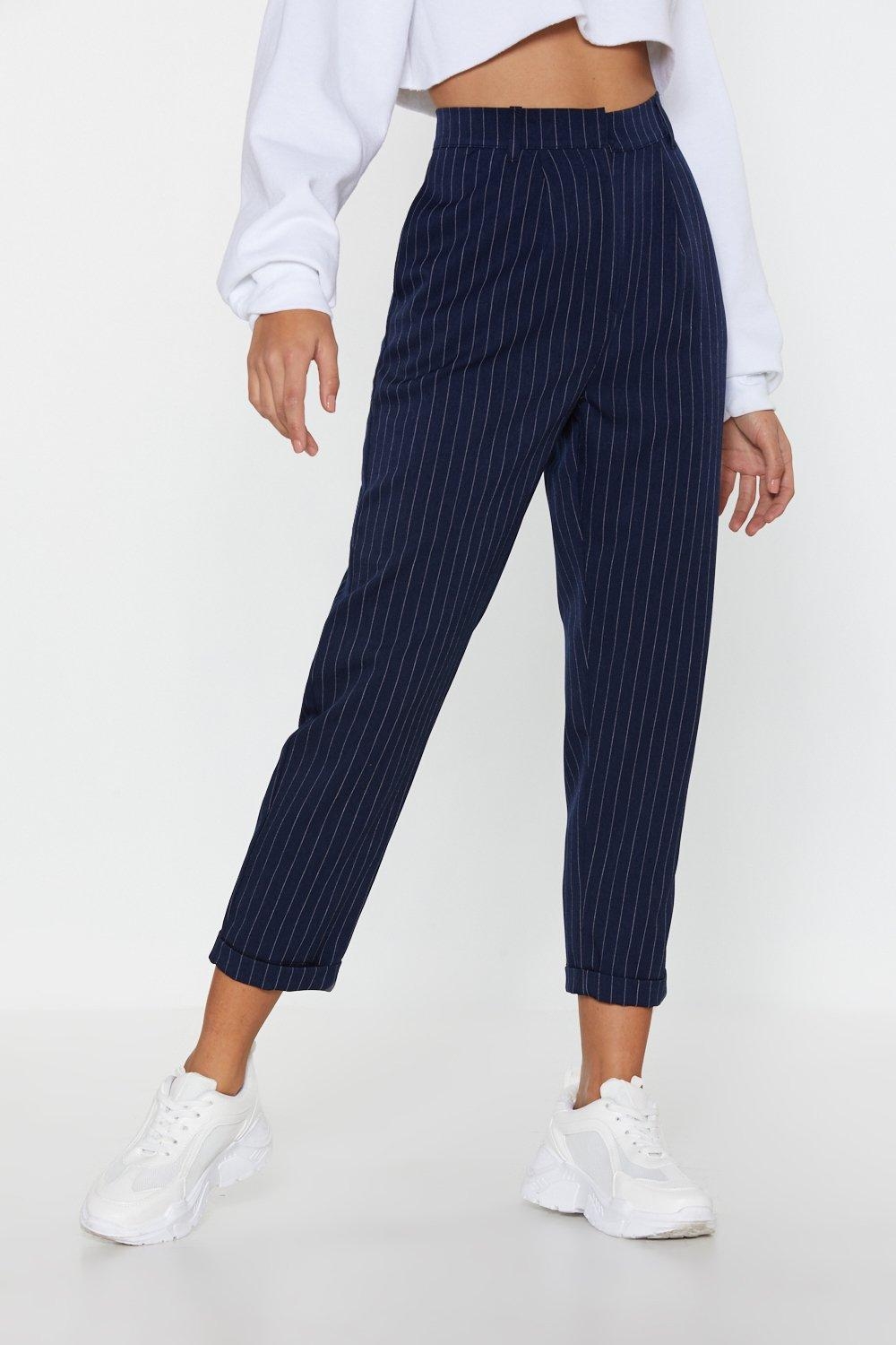 920ce05495 Womens Navy Pinstripe Turn Up Trousers