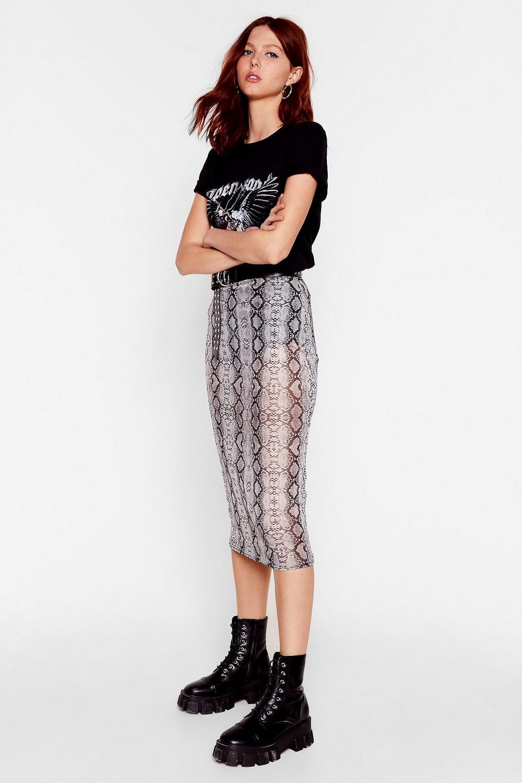 a93652c5e35 Womens Grey Call It a Snake Through Mesh Midi Skirt