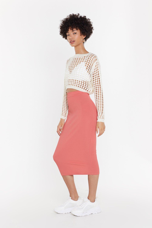 ce93bc4c0bbd24 Jupe midi moulante en tissu côtelé Midi à ma jupe | Shop Clothes at ...