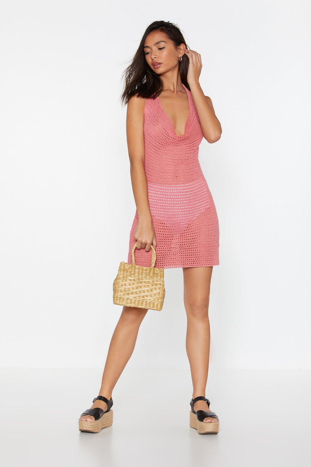 71f9e9ab6c Womens Coral Pointelle Crochet Halterneck Dress. Hover to zoom