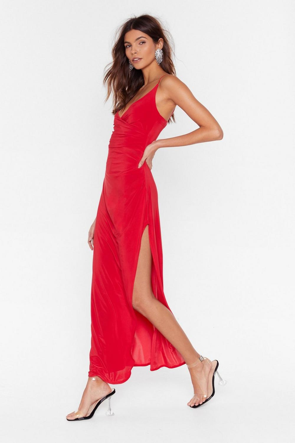 98eeabff48a Womens Red Hot Date Wrap Maxi Dress
