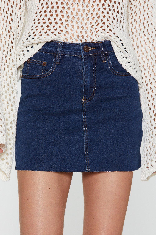 5bfb951fcce4 Womens Dark blue Huh Hem Denim Mini Skirt. Hover to zoom