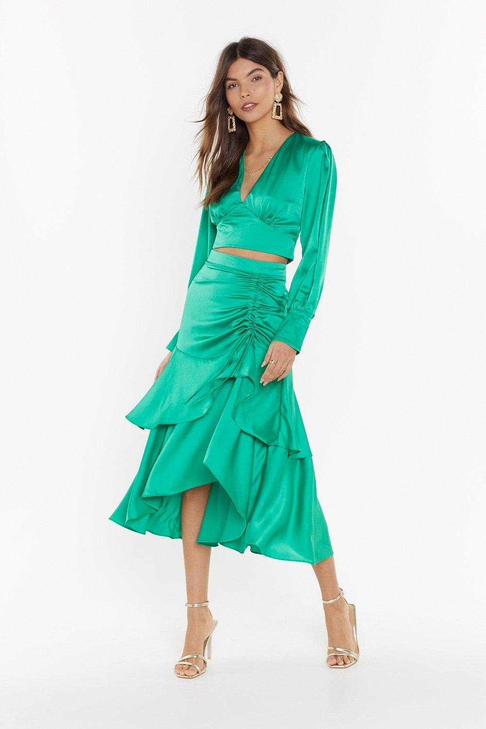 6c2d752e76b5 Waves of Emotion Satin Midi Skirt | Shop Clothes at Nasty Gal!