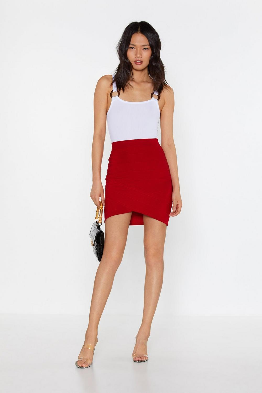 b06ad0eb7ea Close video. Womens Dark red Bandage Together Wrap Mini Skirt ...