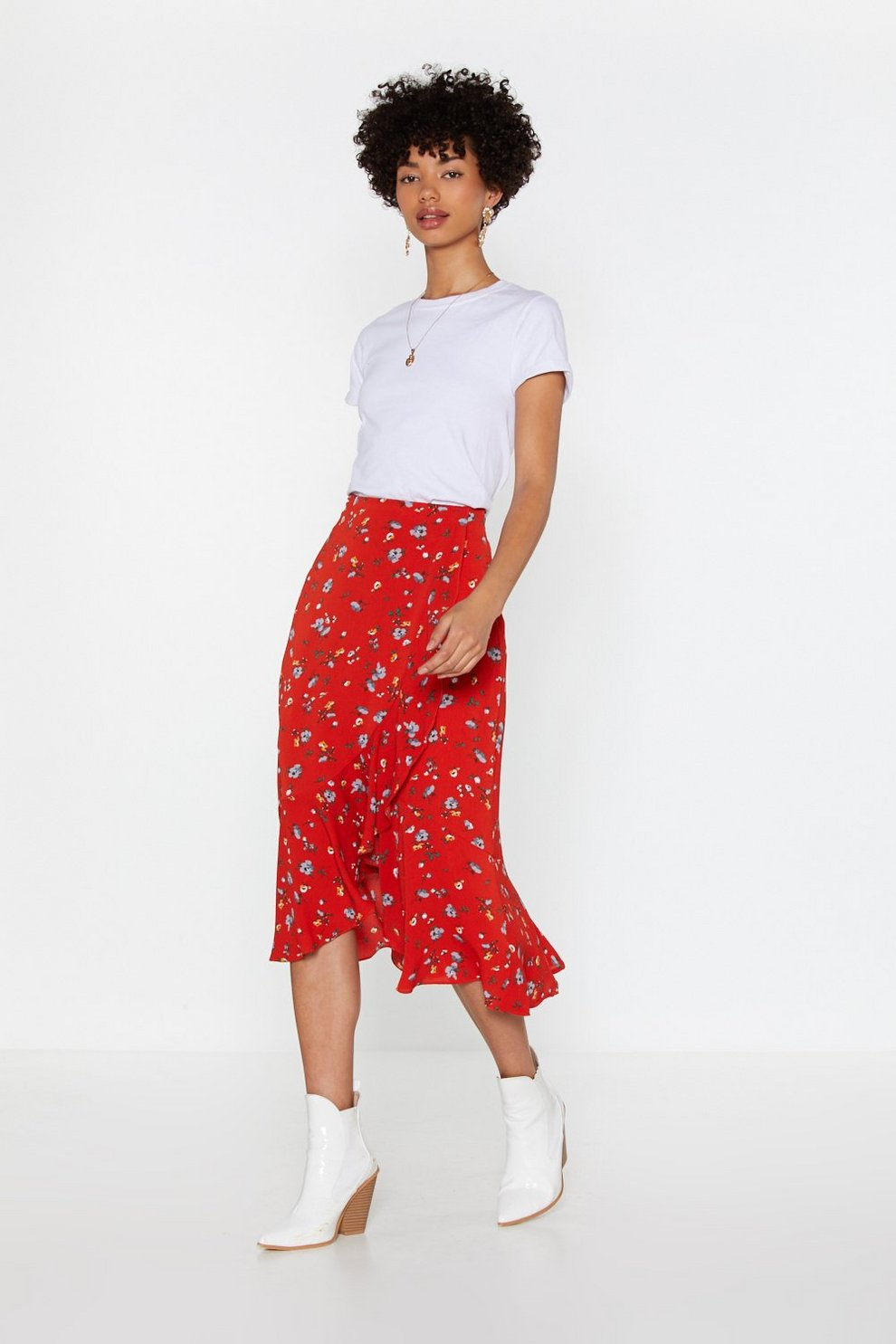186da0c5e9a Promotions. 50% Off Everything.  25.00  50.00. Floral Ruffle Wrap Midi Skirt