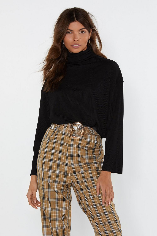 95554e977ed Womens Black Warm Feelings Oversized Turtleneck Sweater