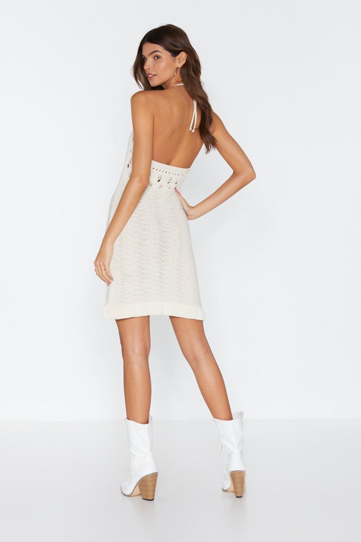 0b1ca1678c Womens White Oke Crochet Halter Mini Dress. Hover to zoom