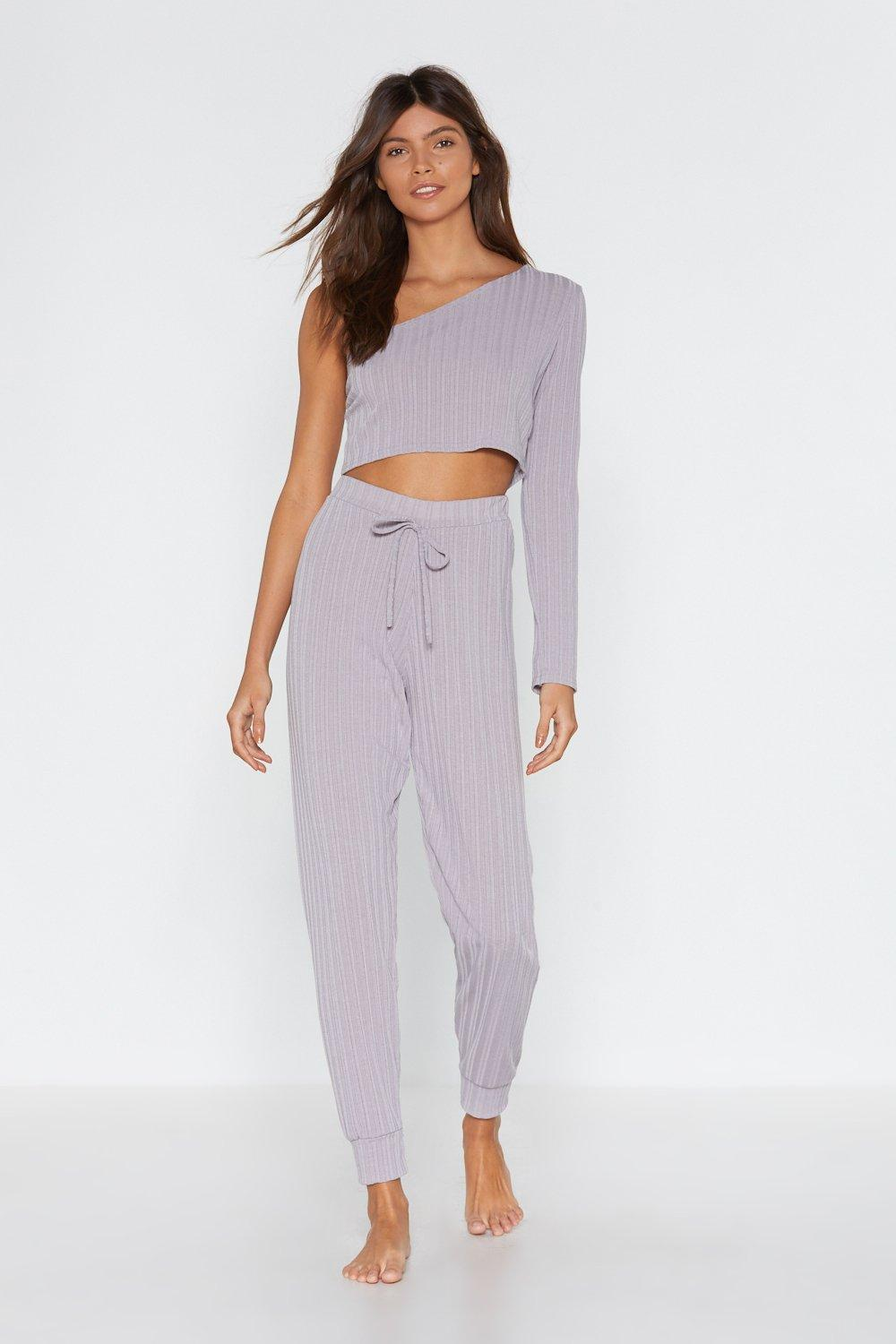 9786b2fce786e Womens Light grey Jogging the Limelight One Shouler Top and Jogger Lounge  Set