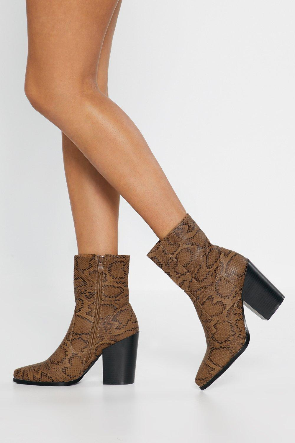 c85728f75a72 Snake Print Heeled Boots | Shop Clothes at Nasty Gal!