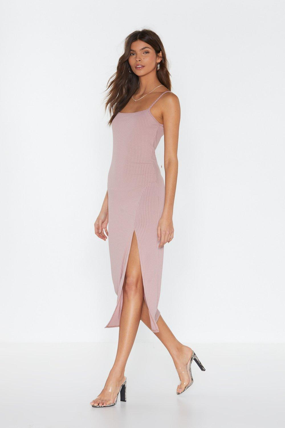 b046544aef Womens Rose Slit Idly By Ribbed Midi Dress. Hover to zoom