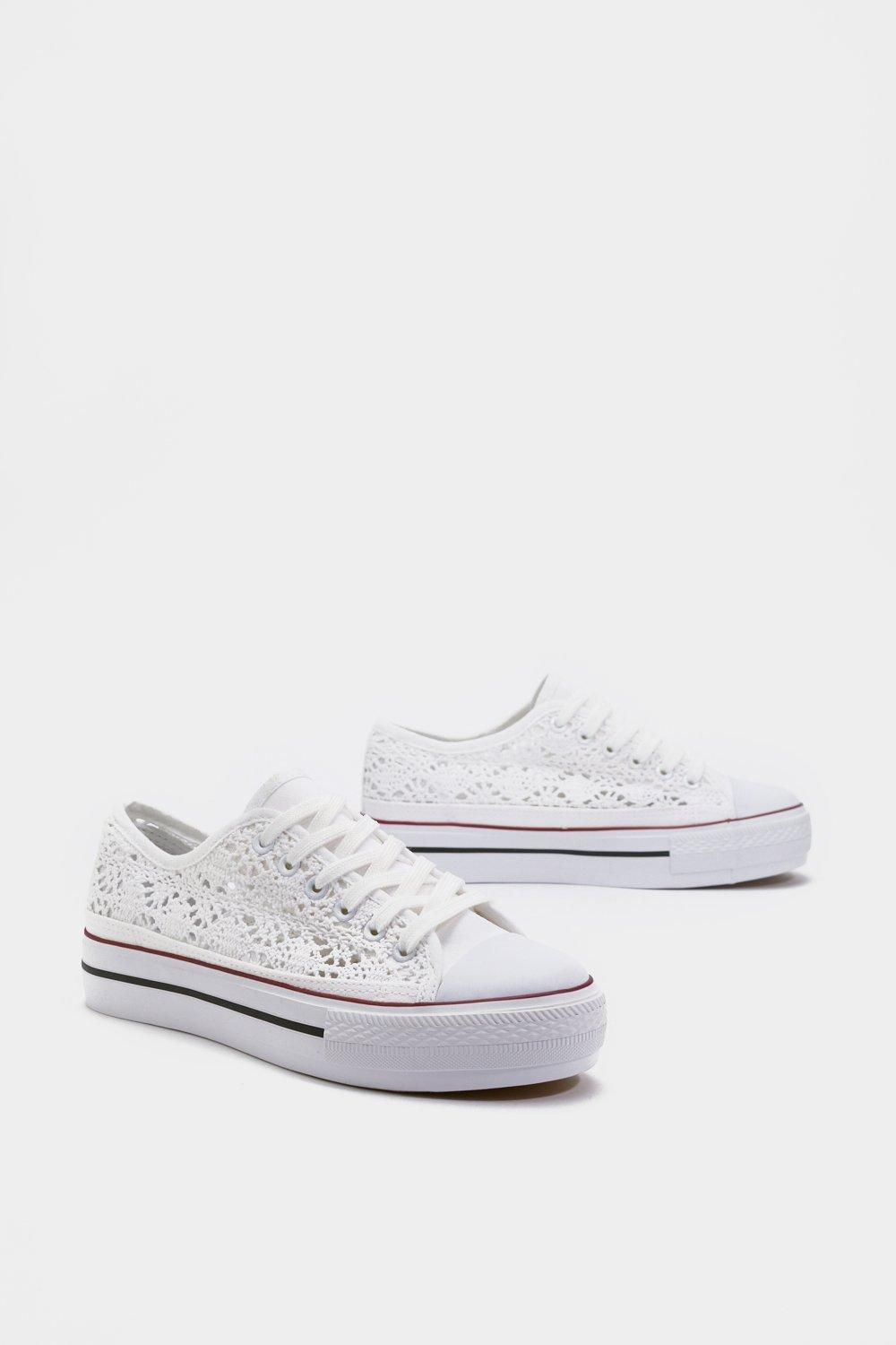c55c75f88 Womens White Crochet Lace Up Sneakers