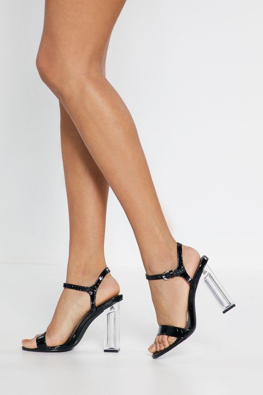 Croc Clear Heeled Sandals