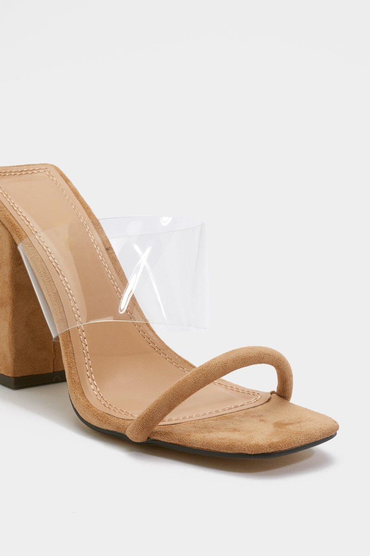 5da7ad5d3b5 Clear Strap Block Heel Mules