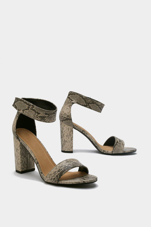 5de82e7ba Womens Stone Snake Print Block Heel Sandals