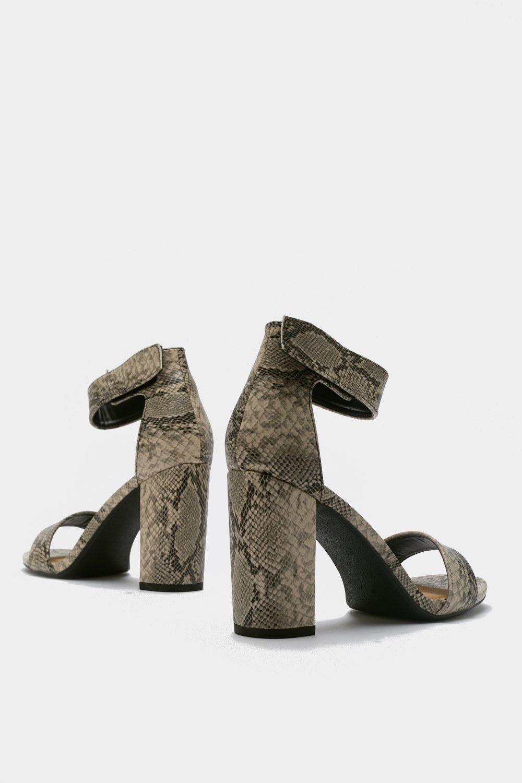 aa11ac0ebcf99 Snake Print Block Heel Sandals