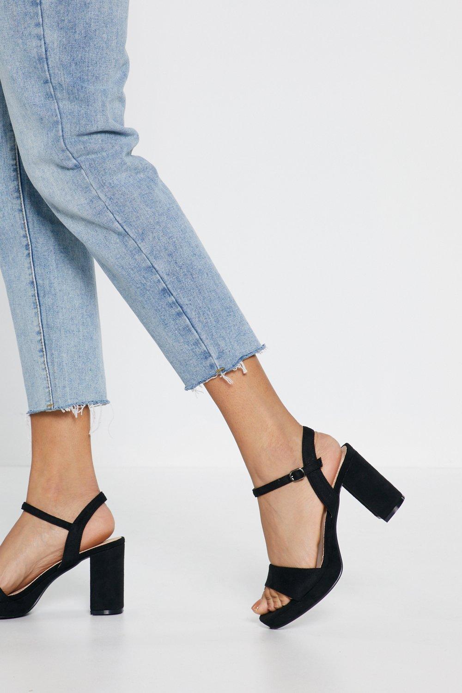 6de35bc6531 Womens Black Block Heel Platform Heels
