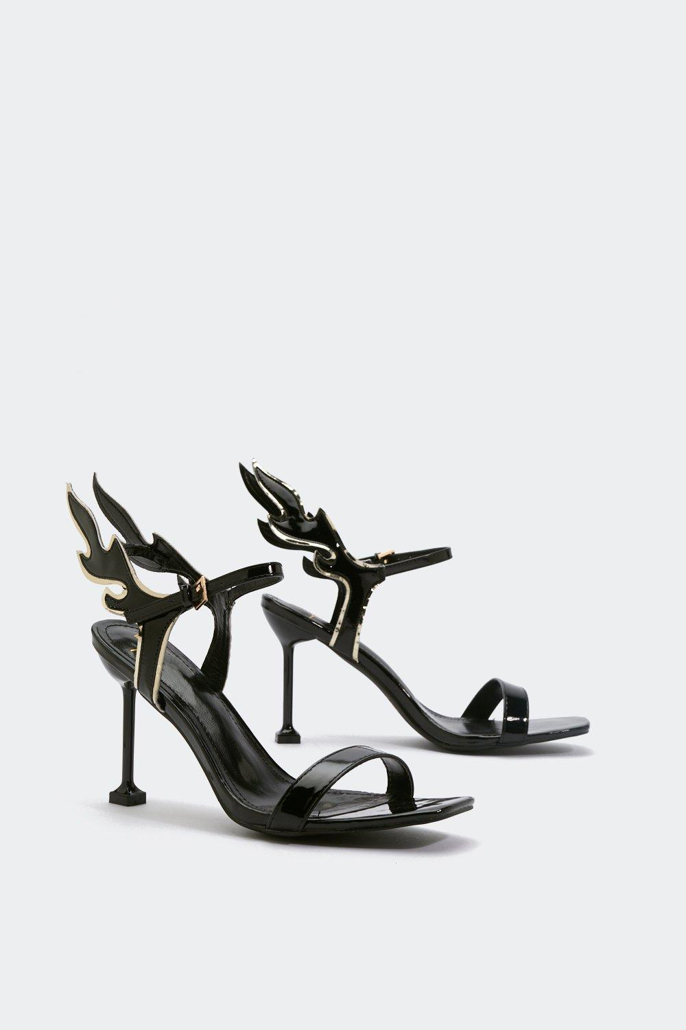 cb5c411aae51 Womens Black Flame Strappy Heeled Sandals. Hover to zoom
