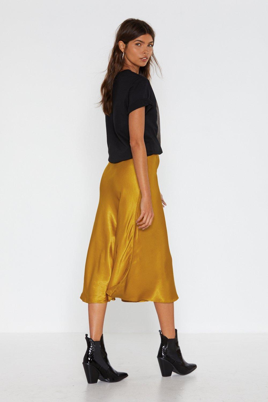 cc20f5d0ddb Womens Gold Sleek Havoc Bias Cut Satin Skirt