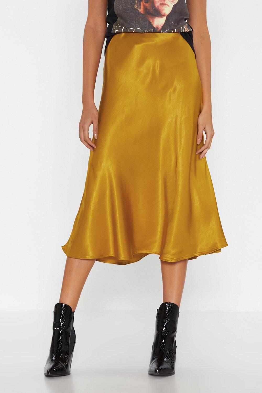 f316794afda Womens Gold Sleek Havoc Bias Cut Satin Skirt.