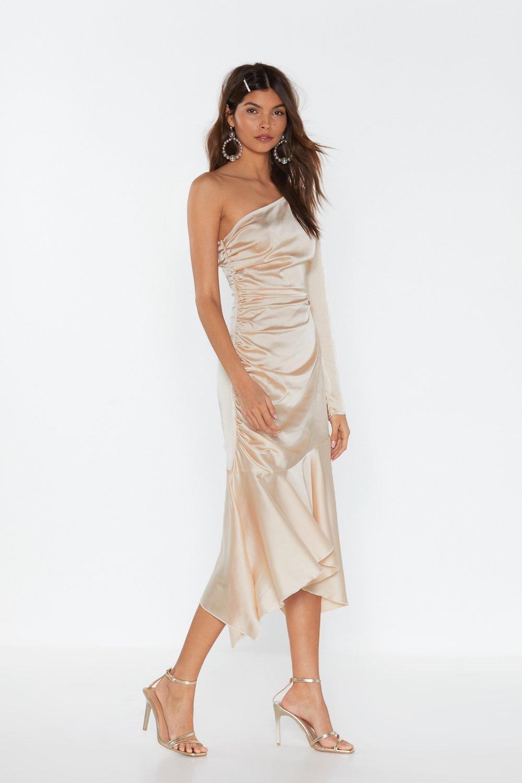 12638639cc Womens Blush One Sleeve Asymmetric Hem Midi Dress. Hover to zoom