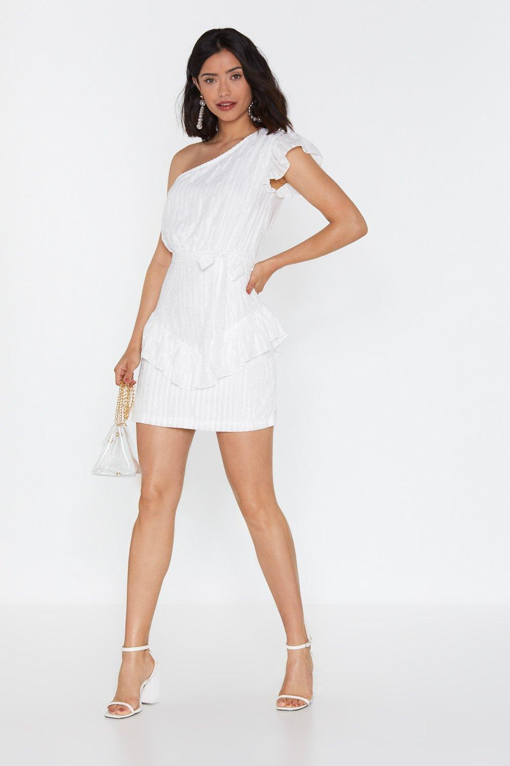 f9e1655107d Womens Ivory Looking Out For Number One Shoulder Mini Dress. Hover to zoom